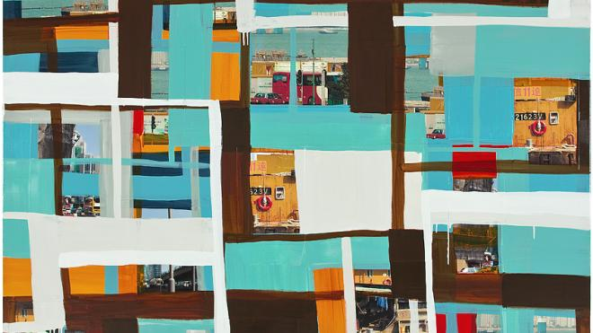 Monika Humm  global Hongkong 70, 2014, Mischtechnik auf Leinwand, 170 x 190 x 5 cm