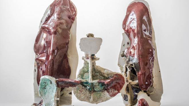 © Raphael Weilguni + Viola-Relle / Selber (Fußfessel), self (ankle bracelet), glaced ceramics, 2018
