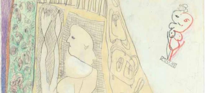 """Monika Maurer-Morgenstern """"In Potsdam"""" aus der Serie """"Balkonien"""", 2015, Bleistift und Buntstift auf weißem Papier, 22 x 21 cm"""