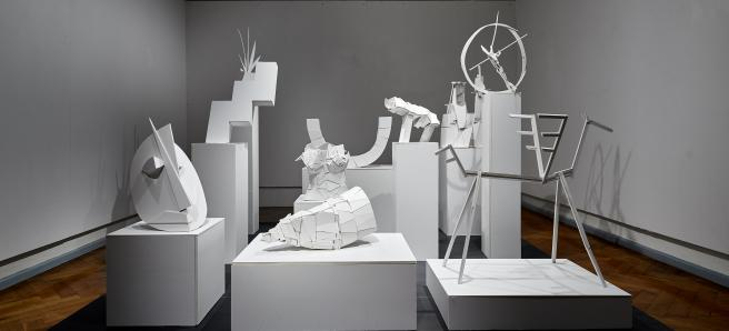Sebastian Tröger + Tim Hufnagl, Salon der Archetypen, 2017, Leichtstoffplatten, 10-teilige Serie